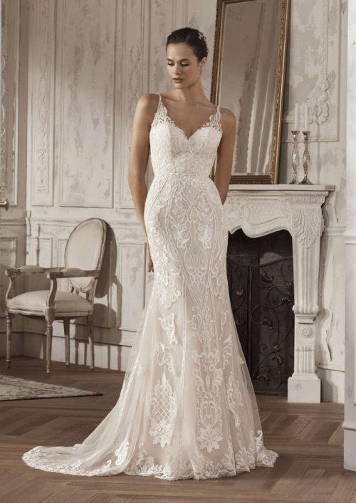 vestido de novia corte recto modelo amira