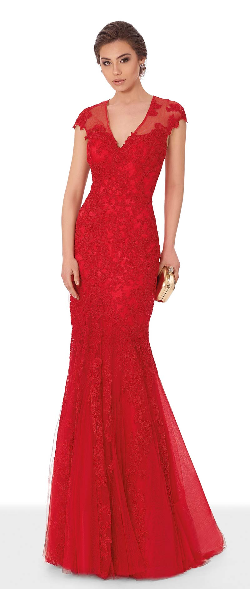 vestido rojo largo con escote a pico de corte sirena