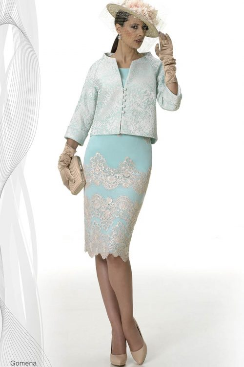 vestido madrina con chaqueta esthefan modelo gomena