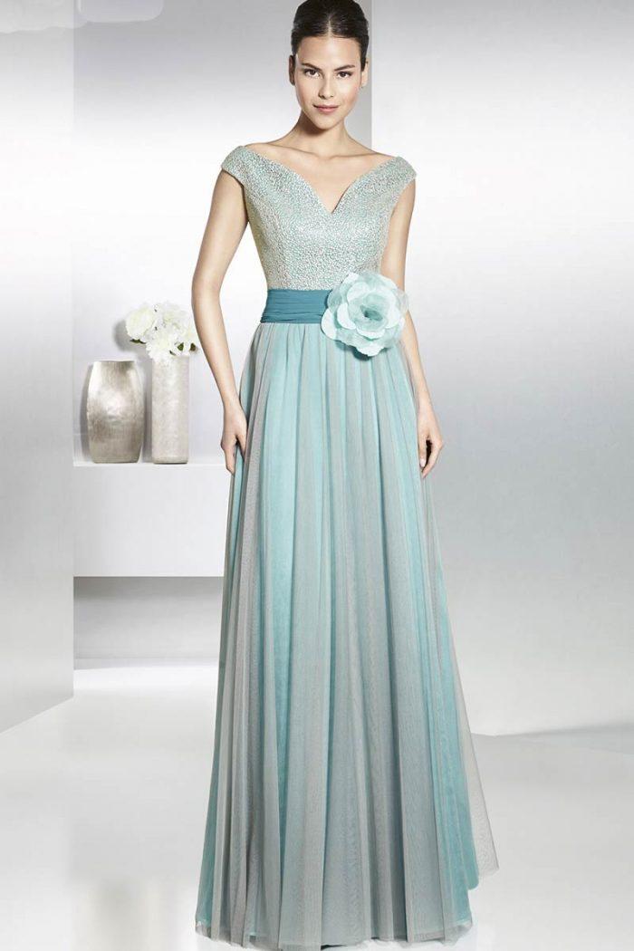 Vestido de madrina con falda de tul modelo ruisenor manila 1