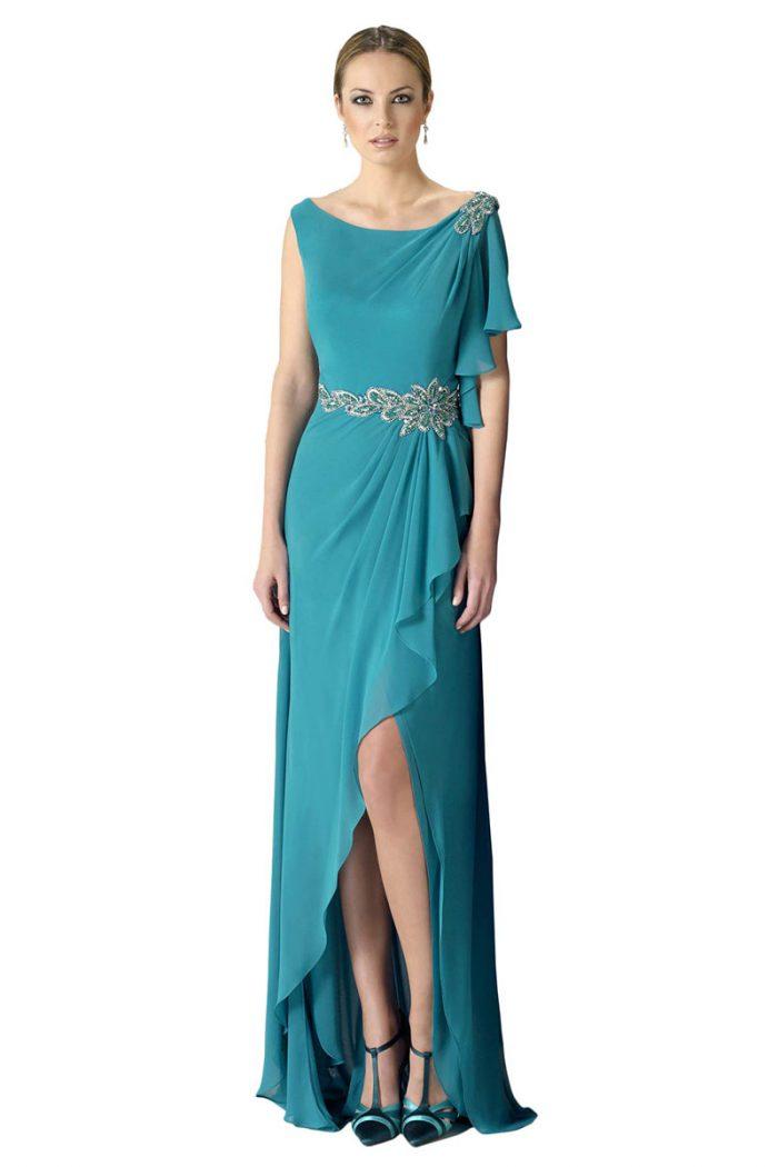 Vestido largo color verde turquesa coleccion as
