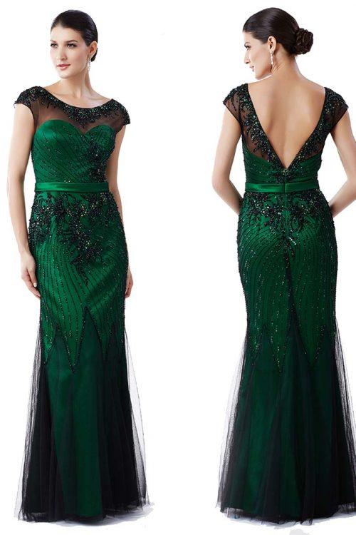 Vestido largo fiesta pedreria verde esmeralda 1
