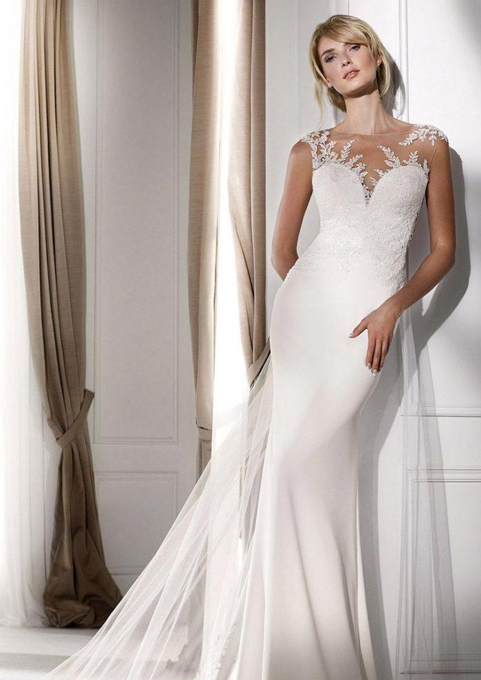 vestido de novia coleccion Nicole Milano en crepe corte sirena