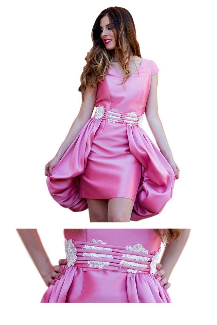 Vestido de fiesta rosa juvenil coctel 1