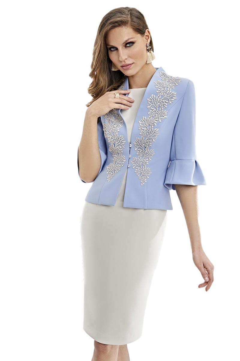 Vestido de madrina con chaqueta levita esthefan modelo lotus 1