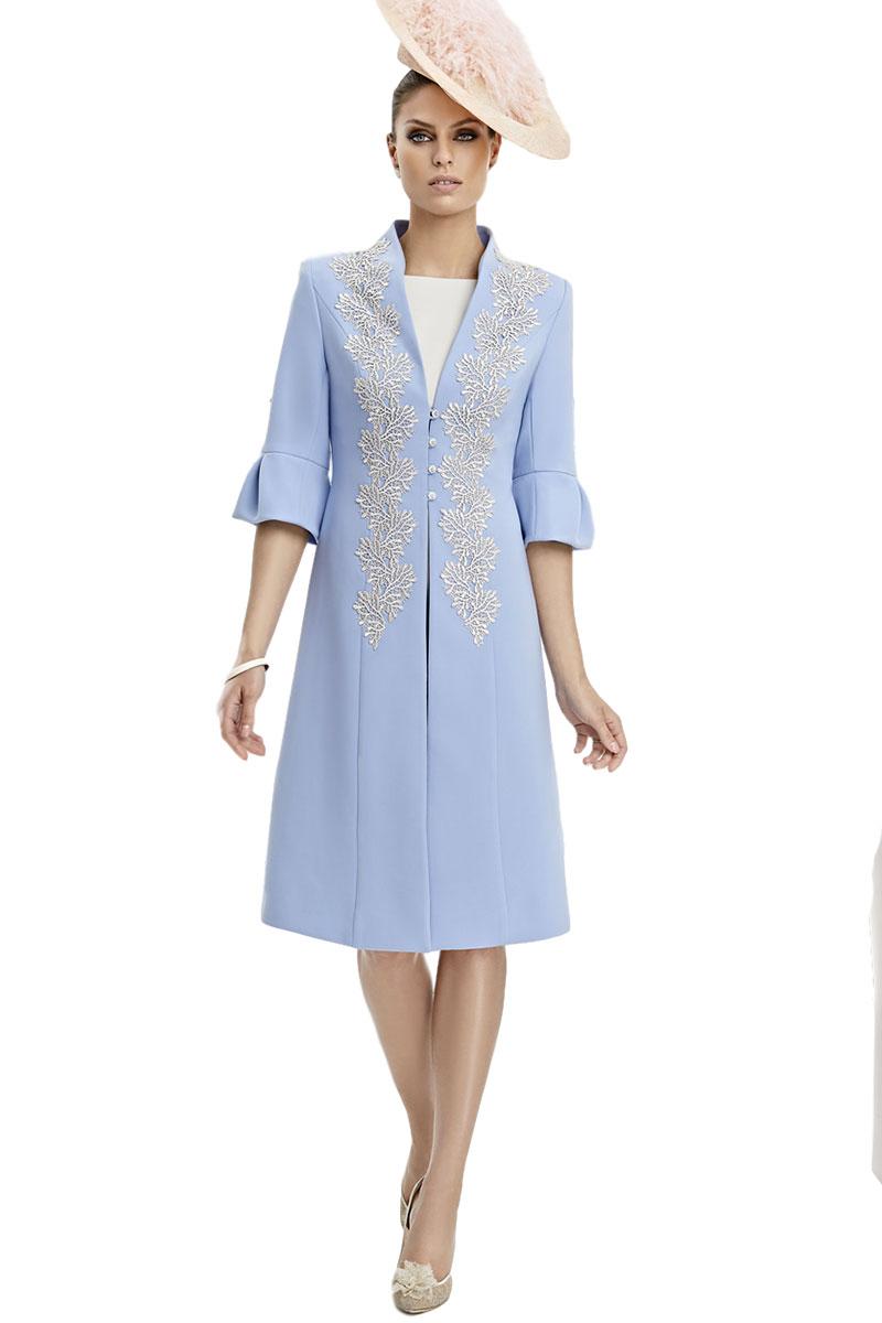 Vestido de madrina con chaqueta levita esthefan modelo lotus