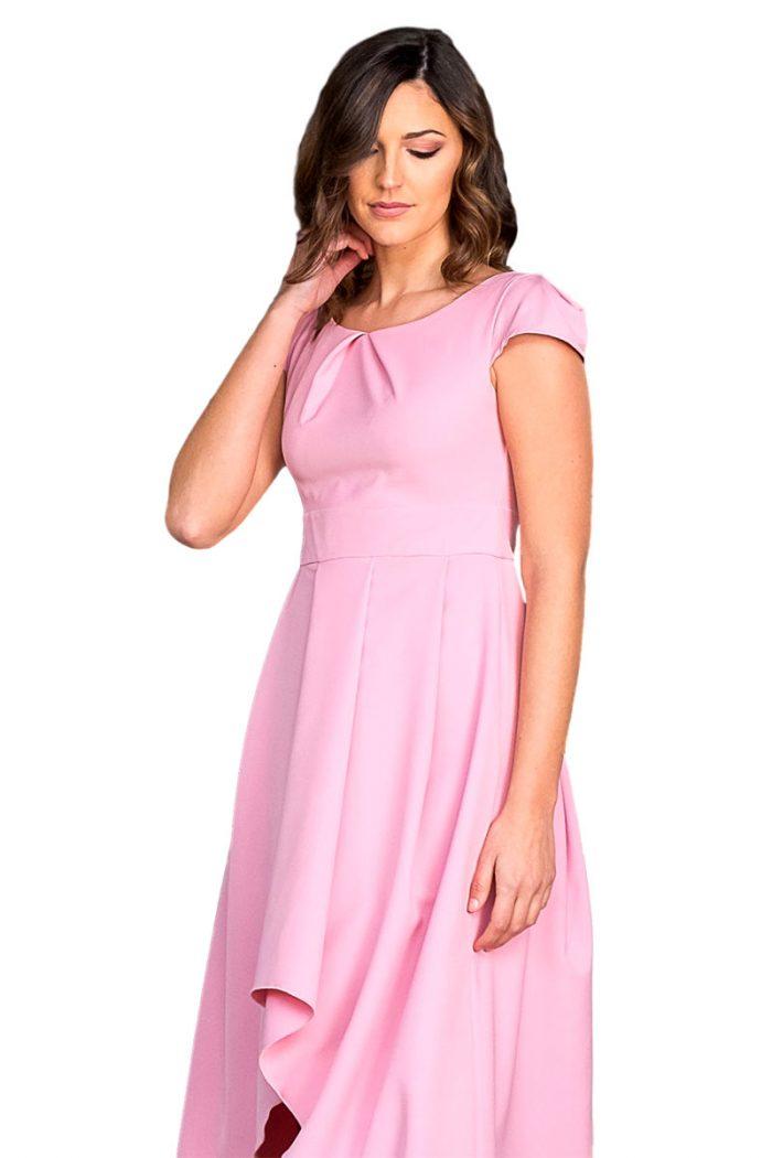 Vestido asimetrico modelo 1543 rosa