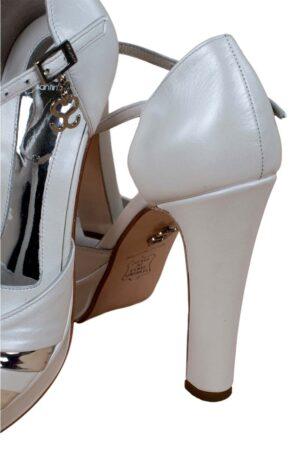 Zapatos de novia santino blanco y plata 2