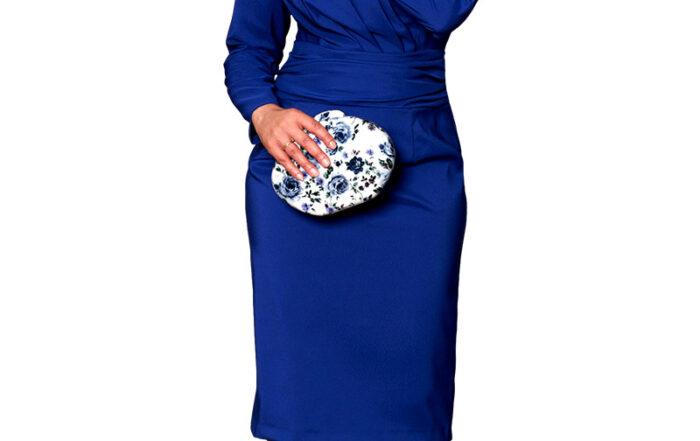 Vestido fiesta azul manga larga flor hombro b